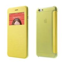 Flipové pouzdro pro Apple iPhone 6 Plus / 6S Plus s průhledným prvkem / výřezem pro displej - žluté