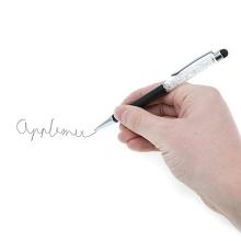 2v1 dotykové pero / stylus s propiskou - černé s lesklými kamínky