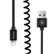 Synchronizační a nabíjecí kabel BASEUS - Lightning pro Apple zařízení - spirálový - černý - 1,6m