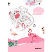 Pouzdro / obal pro Apple AirPods KINGXBAR - plastové - kamínky - průhledné / plameňáci