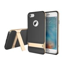 Kryt ROCK Royce pro Apple iPhone 7 / 8 gumový / zlatý plastový rámeček - černý