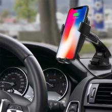 Bezdrátová nabíječka / nabíjecí držák do auta Qi - automatické uchycení - s přísavkou - černá