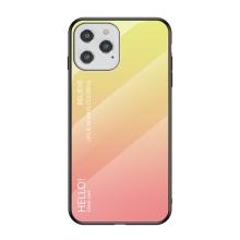 Kryt pro Apple iPhone 12 / 12 Pro - skleněný / gumový - růžový / žlutý