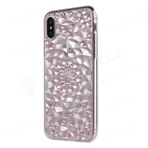 Kryt SULADA pro Apple iPhone X - 3D diamantová textura - gumový