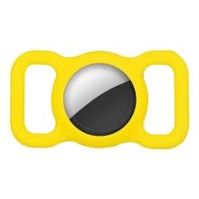 Kryt pro Apple AirTag - spona na batoh / psí obojek - silikonový - žlutý