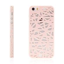 Kryt pro Apple iPhone 5 / 5S / SE plastový mřížky růžový