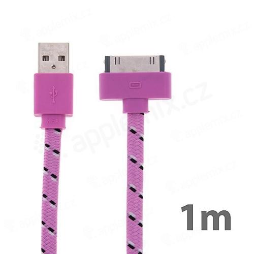 Synchronizační a nabíjecí kabel s 30pin konektorem pro Apple iPhone / iPad / iPod - tkanička - plochý bílý