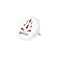 Adaptér SKROSS - přepojka UK / US / AU samice na EU samec - pro použití zahraničních adaptérů - bílý