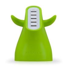 Designová nabíječka MOMAX U.Bull s 5x USB porty (8A) - silikonový povrch - zelená