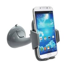 Držák do automobilu s přísavkou pro Apple iPhone a telefony 3.5 - 5.5 - otočný - šedý