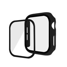 Tvrzené sklo + matný rámeček pro Apple Watch 44mm Series 4 / 5 / 6 / SE - černý