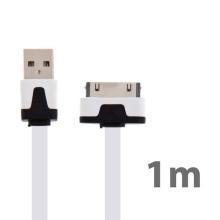 Synchronizační a nabíjecí plochý USB kabel pro Apple iPhone / iPad / iPod - bílý