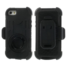 Pouzdro pro Apple iPhone 5 / 5C / 5S / SE outdoor plasto-silikonové - 360° otočný klip a stojánek - černé
