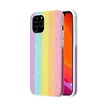 Kryt KINGXBAR pro Apple iPhone 12 / 12 Pro - s třpytkami - gumový / plastový - pastelová duha