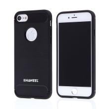 Kryt HAWEEL pro Apple iPhone 7 / 8 - broušený vzor - gumový - černý / karbon
