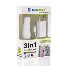 3v1 nabíjecí sada pro Apple zařízení - EU adaptér, autonabíječka s 2 USB porty (3.1A) a kabel Lightning - bílá