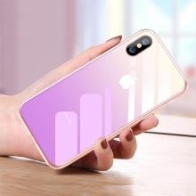 Kryt CAFELE pro Apple iPhone Xs Max - sklo / silikon - fialový
