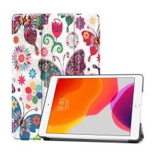 """Pouzdro / kryt pro Apple iPad 10,2"""" (2019 - 2021) - funkce chytrého uspání + stojánek - plastová záda - motýli a květiny"""