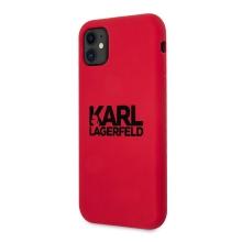 Kryt KARL LAGERFELD pro Apple iPhone 11 - silikonový - červený