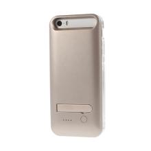 MFi certifikovaná externí baterie iFans s vyměnitelnými rámečky a stojánkem pro Apple iPhone 5 / 5S / SE - 2400 mAh - stříbrno-m