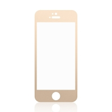Tvrzené sklo (Tempered Glass) pro Apple iPhone 5 / 5S / 5C / SE - zlatý rámeček - 0,3mm