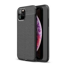 Kryt pro Apple iPhone 11 Pro Max - textura kůže - gumový - černý