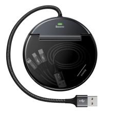 Redukce / dobíjecí přepojka BASEUS 1x USB na 2x USB + USB-C + nabíjecí kabel 3v1 - černá / šedá