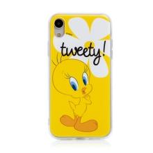 Kryt Tweety pro Apple iPhone Xr - gumový - žlutý s kytičkou
