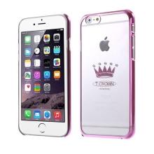 Plastový kryt X-FITTED pro Apple iPhone 6 / 6S - průhledný + růžový rámeček - růžová koruna zdobená kamínky Swarovski