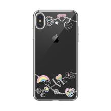 Kryt KAVARO pro Apple iPhone X / Xs  s kamínky - plastový - duha - zlatý