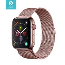 Řemínek DEVIA pro Apple Watch 45mm / 44mm / 42mm - nerezový - Rose Gold růžový