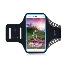 Sportovní pouzdro pro Apple iPhone 6 Plus / 6S Plus / 7 Plus / 8 Plus - černé s modrým reflexním pruhem
