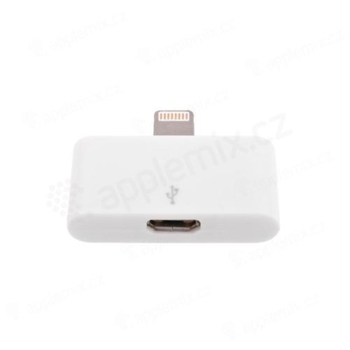 Redukce micro USB / Lightning pro Apple iPhone / iPad / iPod - bílá