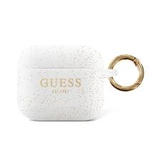 Pouzdro / obal GUESS Glitter pro Apple AirPods 3 (2021) - se třpytkami - silikonové - bílé