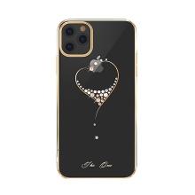 Kryt KINGXBAR pro Apple iPhone 11 - průhledný s kamínky Swarovski - srdce - zlatý