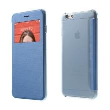 Flipové pouzdro pro Apple iPhone 6 Plus / 6S Plus s průhledným prvkem / výřezem pro displej - modré