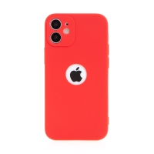 Kryt FORCELL Soft pro Apple iPhone 12 mini - gumový - s výřezem pro logo - červený