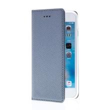 Pouzdro pro Apple iPhone 6 / 6S - stojánek + prostor pro platební karty - látková textura - šedé
