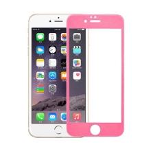 Super odolné tvrzené sklo (Tempered Glass) na přední část Apple iPhone 6 Plus / 6S Plus (tl. 0.3mm) - růžový rámeček
