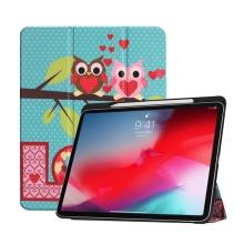 """Pouzdro pro Apple iPad Pro 11"""" - funkce chytrého uspání + stojánek - sovičky Love"""