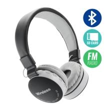 Sluchátka Bluetooth bezdrátová - mikrofon + ovládání - FM rádio - Micro SD slot - 3,5mm jack vstup - černá / šedá