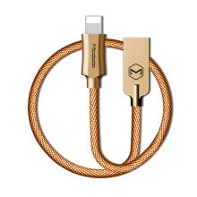 Synchronizační a nabíjecí kabel Lightning pro Apple zařízení MCDODO - tkanička - kovové koncovky - 1,2m - zlatý