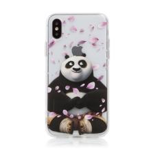 Kryt Kung Fu Panda pro Apple iPhone X / Xs - gumový - Po a okvětní lístky