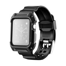 Řemínek + rámeček pro Apple Watch 42mm series 1 / 2 / 3 - plast / guma - černý