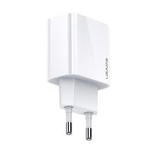20W EU napájecí adaptér / nabíječka USAMS - rychlonabíjecí - USB-C pro Apple iPhone / iPad - bílý
