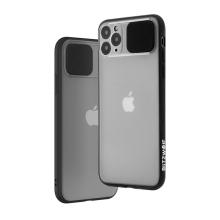 Kryt BLITZWOLF pro Apple iPhone 11 Pro Max - plastový / gumový - posuvná krytka fotoaparátu - průhledný / černý