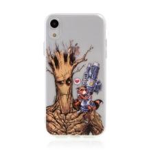 Kryt MARVEL pro Apple iPhone Xr - Strážci Galaxie - Rocket a Groot - gumový - průhledný