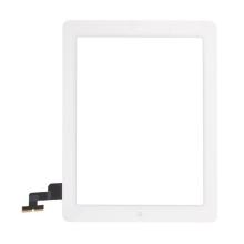 Přední dotykové sklo (touch screen) pro Apple iPad 2.gen. - osazený díl - Home Button + konzole na fotoaparát - bílé - kvalita A