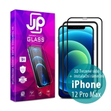 Tvrzené sklo JP pro Apple iPhone - Case Friendly + aplikátor - černý rámeček