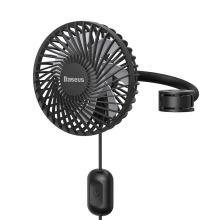 Ventilátor / větrák BASEUS do auta - držák na opěrku - USB napájení - černý